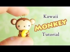 Kawaii Monkey & Banana polymer clay charm tutorial