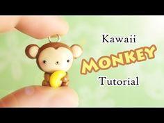 Kawaii Monkey & Banana polymer clay charm tutorial