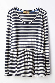 Anthropologie - Striped Peplum Tee, casual look for photos Beauty And Fashion, Look Fashion, Passion For Fashion, Womens Fashion, Milan Fashion, Mode Style, Style Me, Style Feminin, Do It Yourself Fashion