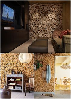 Wood 'cookie' accent wall