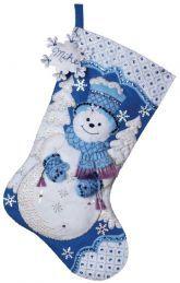 Snowflake Snowman Bucilla Felt Christmas Stocking