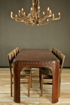 Dining room table with antler chandelier