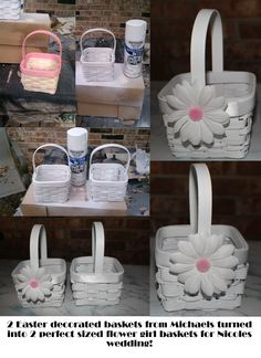 Easter Baskets turned into flower girl baskets !! cheap at Michael's Craft Store :) spray painted white and flowers attached :) (wedding involves Daisies)