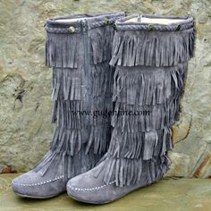 Five Layer Fringe Boots with Metal Embellishments and Braided Topline- Grey//39.95