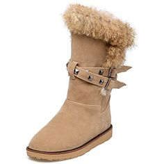 Women's Trendy Round Toe Studs Strap Faux Fur Pull On Warm Snow Boots