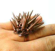 "OUCH! ""Rabid Porcupine"" Statement Ring!  By MidnightStarlet, $27.00"