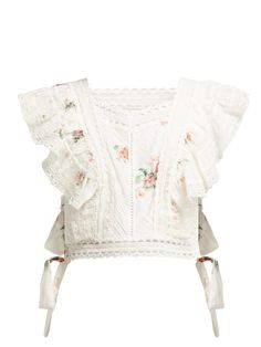 New Zimmermann Heathers floral-print embroidered crop top Womens Clothing. Fashion is a popular style Punk Fashion, Love Fashion, Fashion Outfits, Womens Fashion, Lolita Fashion, Retro Fashion, Floral Tops, Floral Prints, Lace Tops