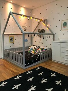 Toddler House Bed, Diy Toddler Bed, Boy Toddler Bedroom, Toddler Rooms, Baby Bedroom, Baby Boy Rooms, Baby Room Decor, Kids Bed Design, Kids Bedroom Designs