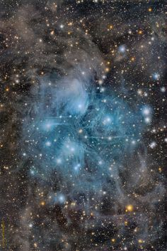 The well known Pleiades star cluster is slowly destroying part of a passing cloud of gas and dust. The Pleiades is the brightest open cluster of stars on Earth's sky and can be seen from almost any northerly location with the unaided eye.