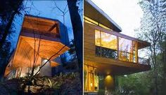The best part of Twilight: the Cullen house! (The Hoke House was designed by architect Jeff Kovel via 'Skylab Architecture') Cullen House Twilight, Twilight Saga, Modern Exterior, Exterior Design, Cabin Design, House Design, Design Net, Home Lottery, House Quiz
