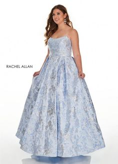 Style 7224 from Rachel Allan Curves is a strapless metallic jacquard plus size ballgown.