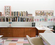 The playroom-turned-office in the house that Eero Saarinen designed for the industrialist J. Irwin Miller and his wife, Xenia, in Columbus, Indiana. We're cheating a little here—Columbus is about 40 miles south of Indianapolis, which hosted Super Bowl XLVI in 2012.  Photo by Leslie Williamson.