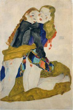 Egon Schiele, Kneeling Girls, 1911 - Las musas de Klimt, Schiele y Kokoschka - 20minutos.es