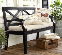 the porch furniture. I Found This Fantastic Hampstead Painted Porch Bench From Pottery Barn.  Love The Farmhouse Style Has With Big X Framed Backing. Furniture