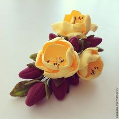 Paper Flowers Craft, Felt Flowers, Flower Crafts, Diy Flowers, Fabric Flowers, Polymer Clay Flowers, Ceramic Flowers, Polymer Clay Jewelry, Diy Yarn Decor