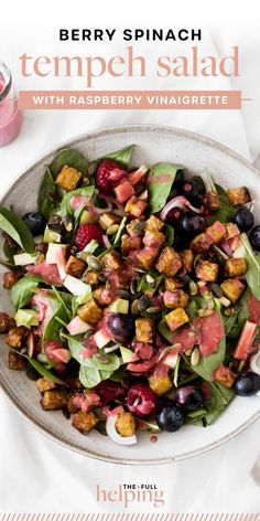 This berry spinach tempeh salad with raspberry vinaigrette is sweet, savory, and seasonal! It's fresh and light, yet packed with plant protein. #vegan #vegetarian #glutenfree Salad Recipes, Vegan Recipes, Pickled Red Onions, Plant Protein, Vegan Protein, Tempeh, Vinaigrette, Vegan Vegetarian, Glutenfree