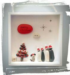 Christmas Eve Box, Christmas Crafts, Christmas Ornaments, Christmas Pebble Art, Creative Pictures, Shell Crafts, Stone Art, Rock Art, Projects To Try