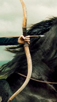 Black running horse with Archer.