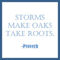 Storms make oaks take roots.  -Proverb