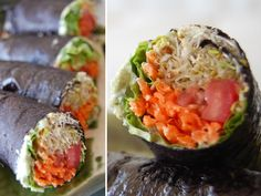 Raw Vegan Recipes: sushi with clover sprouts, tomatoes, lettuce and carrot with a basil and jalapeño cashew dip.