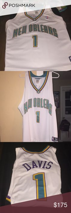 NEW ORLEANS BARON DAVIS JERSEY Original jersey , authentic reebok (stitched numbers and name) jersey .... Baron Davis was my hubbys favorite player back in the day, this is a size 56 (fits like a 2-3XL) but the length comes to upper thigh. This thing is flawless ! He wore it once when he went to see the Celtics play the Hornets a longggg time ago! Reebok Other