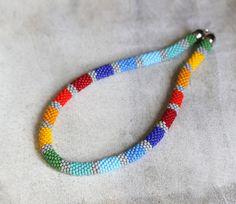 African Necklace Bead Crochet Necklace Multicolor Rainbow