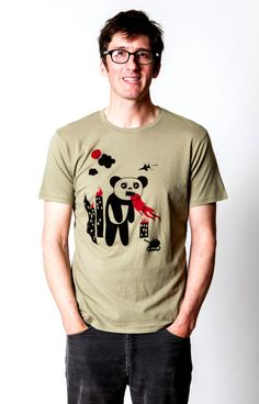 Men's Organic Panda Tee S M L XL by pineconeandchickadee on Etsy, $28.00