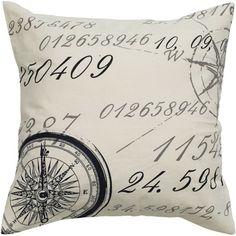 Vintage French Script 20x20 Canvas Cotton Pillow - Nautical DESCRIPTION: Complete your home decorating scheme in an adventurous yet subtle way with this ...