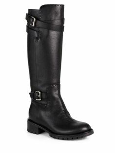 Chloé - Leather Double-Buckle Knee-High Boots #chloe #boots