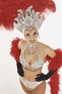 How to Make a Showgirl Feather Headdress using a tennis visor turned upward.  We could sooo do this!