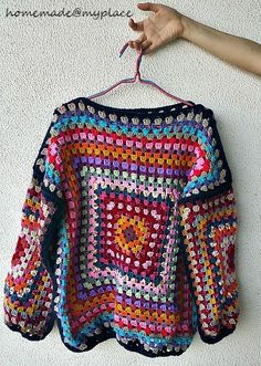 I started to crochet my first granny square for my jumper-to-be on last 4th of October...        ... and little by little, crocheting on a d...