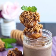 Chocolate Ka'Chava Shake with Biscotti filled, Chocolate Donut Balls by @themintyanne