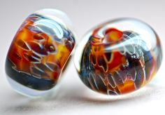 Paulbead boro lampwork glass bead pair for earrings by paulbead, $9.00
