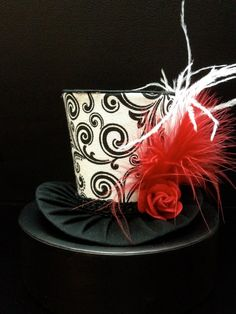 Black White and Red Mad Hatter Mini Top Hat  by daisyleedesign, $25.95