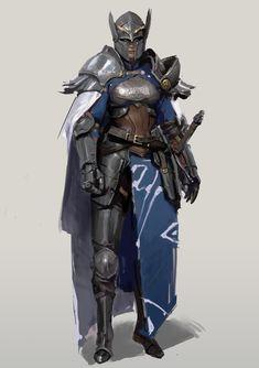 f Fighter Plate Armor Helm Cloak Sword Traveler by Chi Zhang ImaginaryKnights lg Fantasy Female Warrior, Female Armor, Female Knight, Fantasy Armor, Medieval Fantasy, Fantasy Character Design, Character Design Inspiration, Character Concept, Character Art