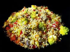 Bulgur cu legume la wok   Retetele mele dragi Wok, Fried Rice, Cobb Salad, Quinoa, Fries, Vegetables, Ethnic Recipes, Salads, Vegetable Recipes