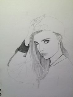 Beginning sketch of Cara Delevingne. Having trouble shading the hair and sweater