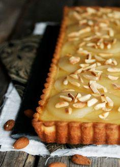 Poached Pear Almond Tart & Cardamom Creme Fraiche