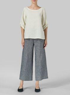 MISSY Clothing - Linen Boat Neck Three-quarter Sleeve Top