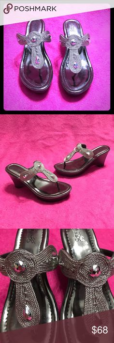"""Like NEW Silver Metallic Sandals with Gem Detail Worn ONCE at an indoor event.  Beautiful, silver metallic """"rope-like"""" material with silver gemstones.  Silver/pewter smooth sides and a modest heel, just enough.  Dress up or down.  Reasonable offers always considered via offer button 💜 Carlos Santana Shoes"""