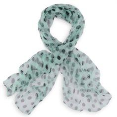 1f566c3c05a Foulard mousseline de soie Vert pois noirs Soie