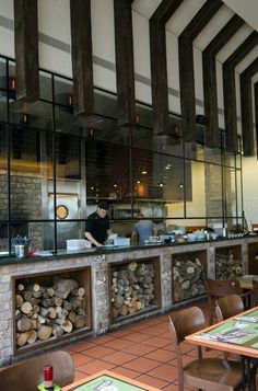 Mistakes that has been made in the design of restaurant dining room can be repaired or redesign more or less easy. But when we talk about the restaurant's kitchen where the change of design requiring to make changes in the kitchen installations, … Restaurant Grill, Open Kitchen Restaurant, Grill Bar, Bar Restaurant Design, Decoration Restaurant, Restaurant Concept, Italian Restaurant Decor, Kitchen Pass, Kitchen Ideas