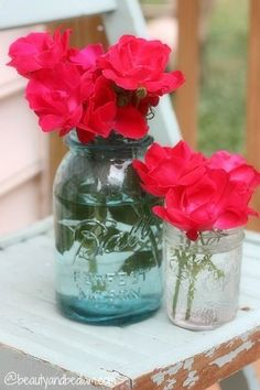 Fall flowers in Mason Jar instead of the roses