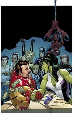 She-Hulk arm wrestles Iron Man while other Marvel heroes look on