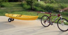 The Dumb Stick® bicycle trailer / tow bar enables your bike to safely transport your kayak, canoe or wagon with ease.