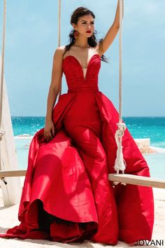 Jovani Couture 97141 red pageant or formal ball gown