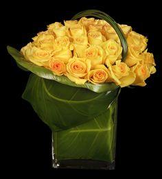 Ovando Floral and Event Design Yellow Flower Arrangements, Creative Flower Arrangements, Vase Arrangements, Floral Centerpieces, Deco Floral, Arte Floral, Floral Design, Ikebana, Unusual Flowers