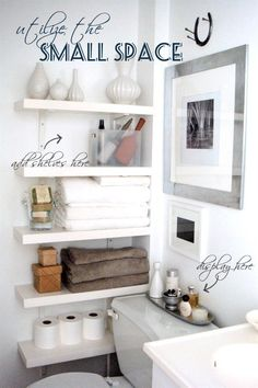 Awsome wall shelves for small bathroom storage design ideas. - SHW Home Decor Small bathroom storage is important for keeping your bathroom stay clean and tidy. If you have a small bathroom you are most likely in need of some bathroom Small Bathroom Organization, Home Organization, Organized Bathroom, Organizing Ideas, Studio Apartment Organization, Organizing Solutions, Medicine Organization, Household Organization, Diy Casa