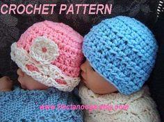 CROCHET PATTERN hat beanie num 189, Unisex boy or girl beanie  , newborn to age 5