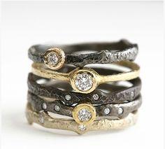 Yasuko Azuma   Diamond Stacking Rings in 18k Yellow Gold Oxidized Sterling Silver  